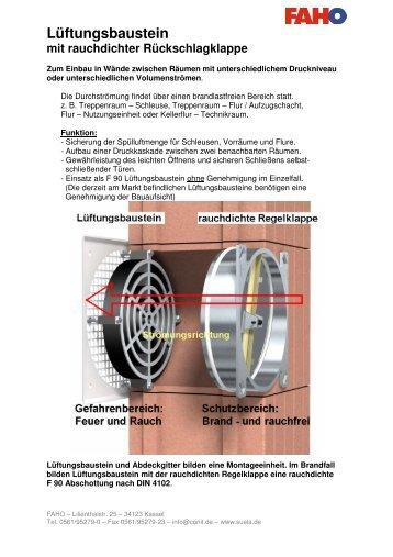 Lüftungsbaustein mit rauchdichter Rückschlagklappe