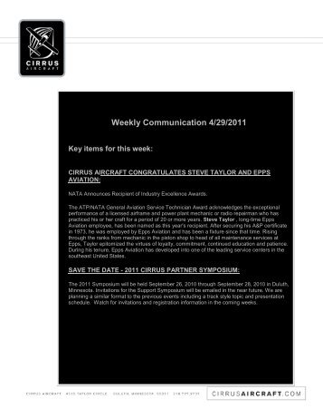 Weekly Communication 4/29/2011