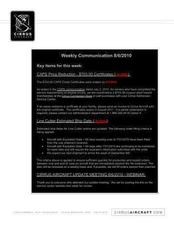 Weekly Communication 8/6/2010