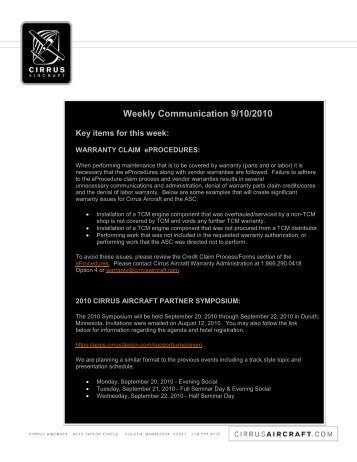 Weekly Communication 9/10/2010