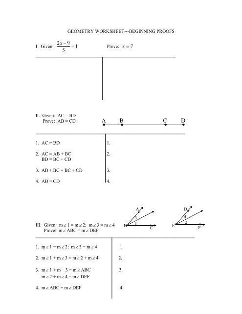 Printables Of Geometry Worksheet Beginning Proofs Geotwitter Kids