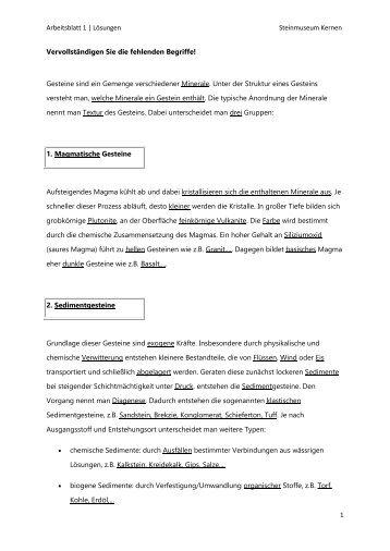 Arbeitsblatt 1 | Lösungen