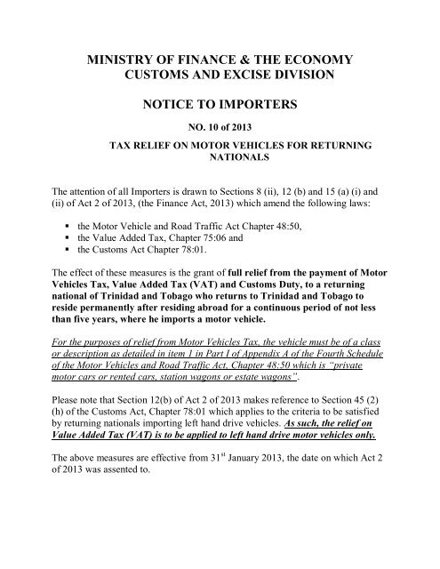 Tax Relief On Motor Vehicles For Returning Nationals Customs And