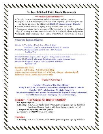 St. Joseph School Third Grade Homework Week of October 7 Monday