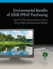 Environmental Benefits of 2008 EPEAT Purchasing