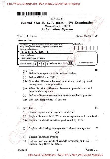 U A -3746 Second Year B C A (Sem - IV) Examinati< Inform ation System