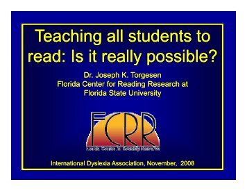 Teaching all students to read Is it really possible?