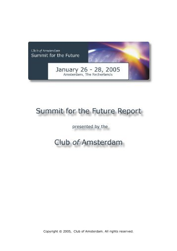 Summit for the Future Report Club of Amsterdam