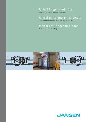 Catalogue de commande portes antipince doigts Janisol - gilbert