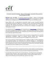 Le Fonds québécois de la recherche sur la nature et les ... - CEF