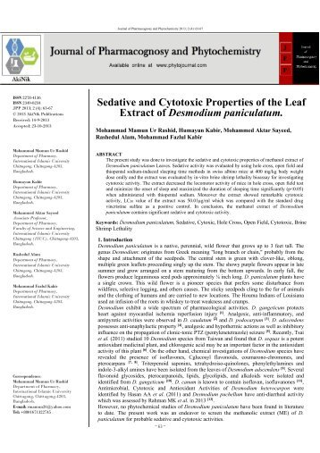 Sedative and Cytotoxic Properties of the Leaf Extract of Desmodium paniculatum
