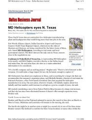 MD Helicopters eyes N Texas