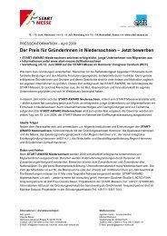 Der Preis für GründerInnen in Niedersachsen – Jetzt ... - PresseBox