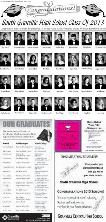 South Granville High School Class Of 2013