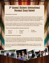 2 Annual Shriners International Personal Essay Contest