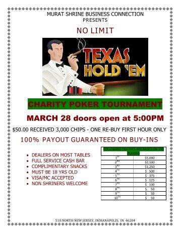 NO LIMIT CHARITY POKER TOURNAMENT MARCH 28 doors open at 5:00PM