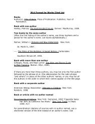 MLA Format for Works Cited List Books Author(s). Title of Book ...