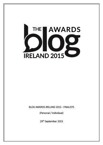 BLOG AWARDS IRELAND 2015 - FINALISTS (Personal / Individual) 29 September 2015