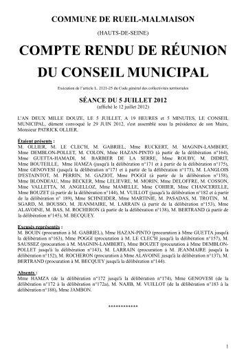 COMPTE RENDU DE RÉUNION DU CONSEIL MUNICIPAL
