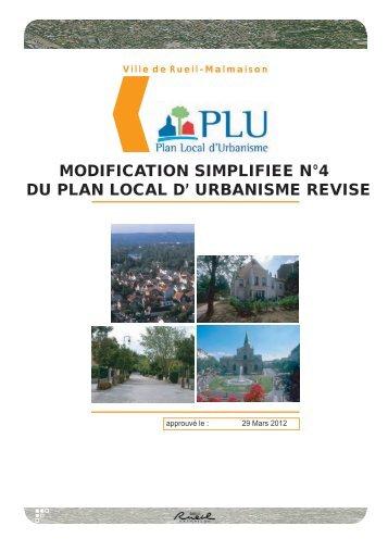 MODIFICATION SIMPLIFIEE N°4 DU PLAN LOCAL D' URBANISME REVISE