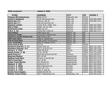 WnW store list 6-09 - Woods 'N Water