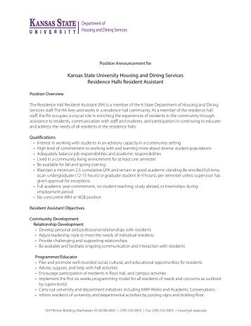 Job Description, Resident Assistant Residence Halls   Housing And .