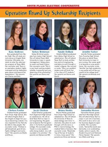 Operation Round Up Scholarship Recipients