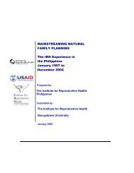 MAINSTREAMING NATURAL FAMILY PLANNING The IRH ...