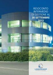 RESOCONTO INTERMEDIO DI GESTIONE AL 30 SETTEMBRE 2013