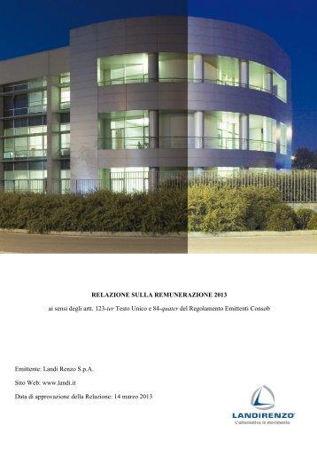 Relazione sulla Remunerazione2013 - Landi Renzo