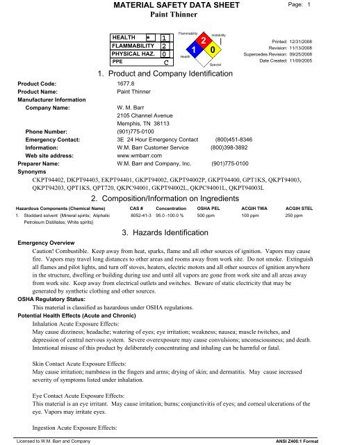 Paint Thinner MSDS - Case School of Engineering
