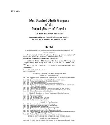One Hundred Ninth Congress of the United States of America