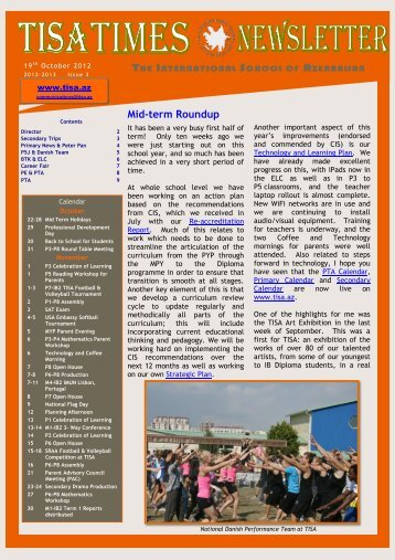 THE INTERNATIONAL SCHOOL AZERBAIJAN Mid-term Roundup
