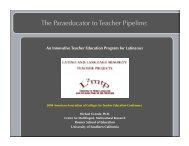 The Paraeducator to Teacher Pipeline