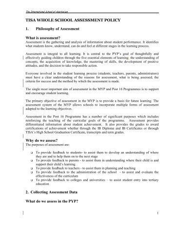 Assessment Policy - The International School of Azerbaijan