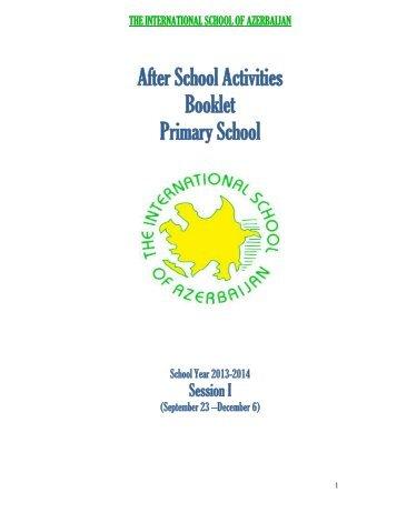 After School Activities Booklet Primary School