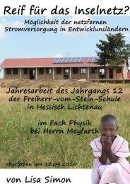 Möglichkeit der netzfernen Stromversorgung in Entwicklungsländern