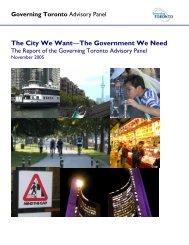 Report from the Governing Toronto Advisory Panel - City of Toronto