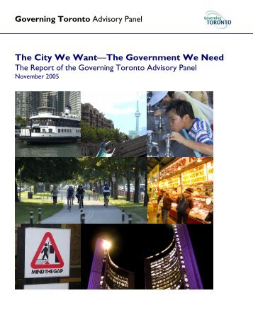 Report from the Governing Toronto Advisory Panel - City of Toronto