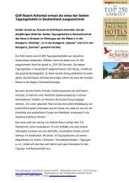 Golf Resort Achental erneut als eines der besten Tagungshotels in Deutschland ausgezeichnet