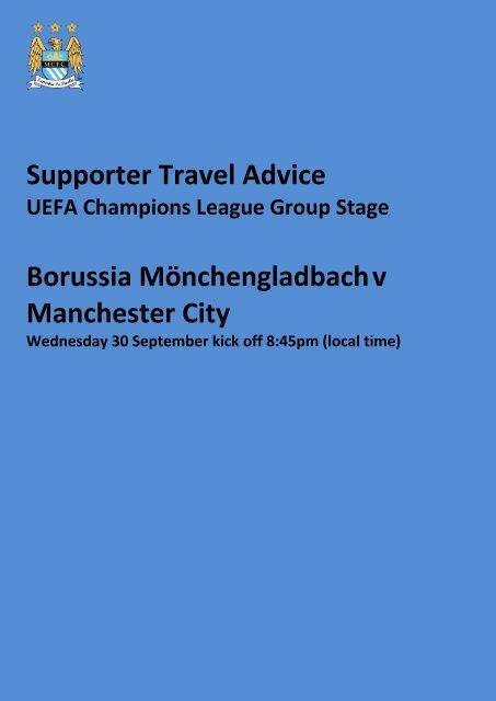 Supporter Travel Advice Borussia Mönchengladbach v Manchester City