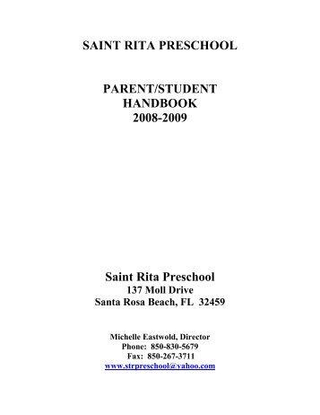 SAINT RITA PRESCHOOL PARENT/STUDENT HANDBOOK 2008-2009 Saint Rita Preschool