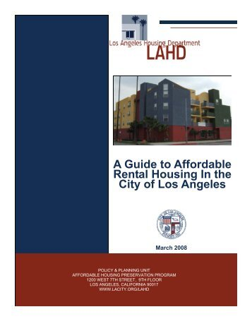 A Guide to Affordable Rental Housing In the City of Los Angeles