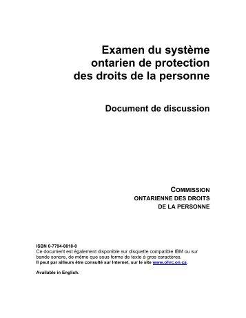 Examen du système ontarien de protection des droits de la personne