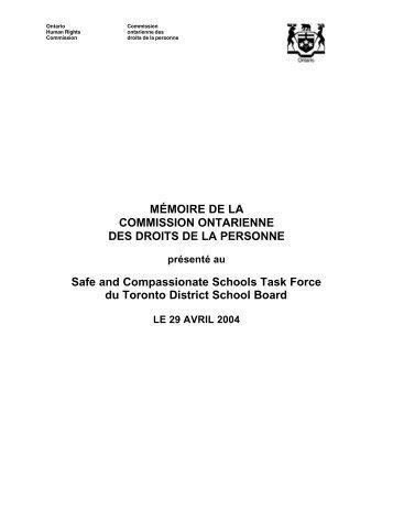 Mémoire de la Commission ontarienne des droits de la personne ...