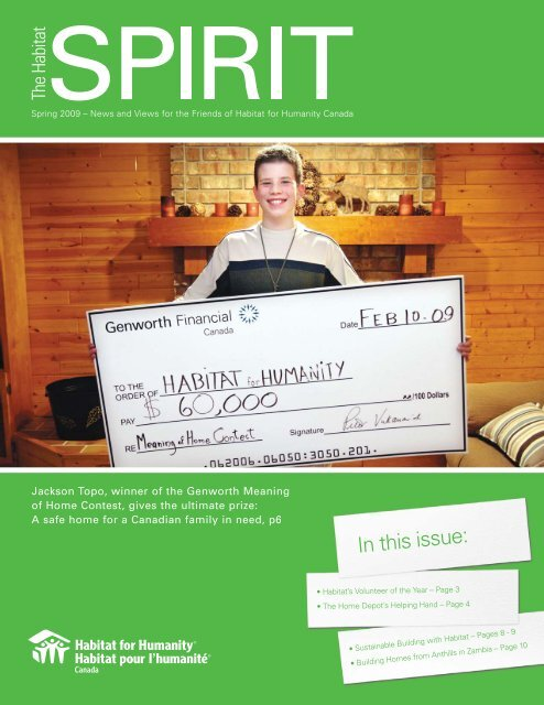 In this issue: - Habitat for Humanity Canada