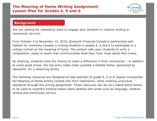 The Meaning of Home Writing Assignment Lesson Plan for