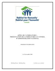appel de candidatures - Habitat for Humanity Canada