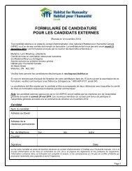 FORMULAIRE DE CANDIDATURE POUR LES CANDIDATS EXTERNES