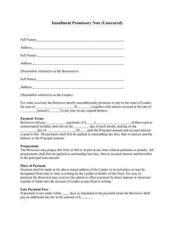 unsecured promissory note (amortized payments) - LegalZoom